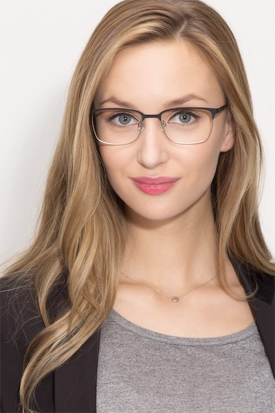 Manchester Black Silver Metal Eyeglass Frames for Women from EyeBuyDirect, Front View