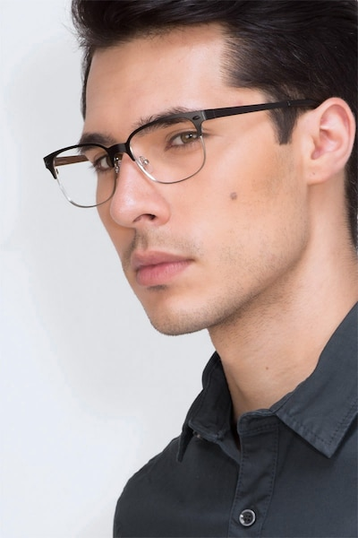 Baker Street Black Silver Metal Eyeglass Frames for Men from EyeBuyDirect, Front View