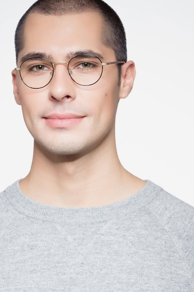 Mingus Black Golden Metal Eyeglass Frames for Men from EyeBuyDirect, Front View
