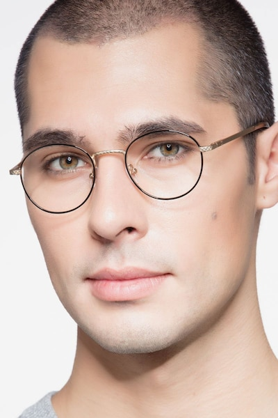 Mingus Black Golden Metal Eyeglass Frames for Men from EyeBuyDirect