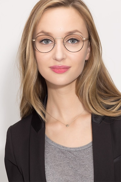 Mingus Black Golden Metal Eyeglass Frames for Women from EyeBuyDirect, Front View