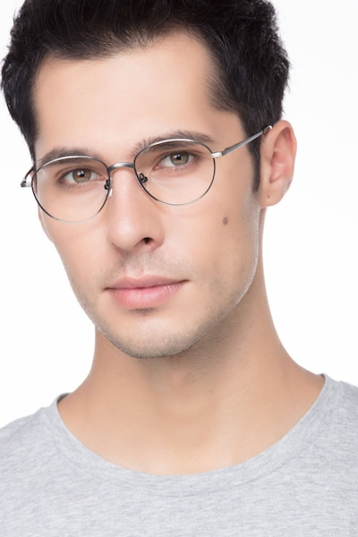 Nara Gunmetal Metal Eyeglass Frames for Men from EyeBuyDirect, Front View