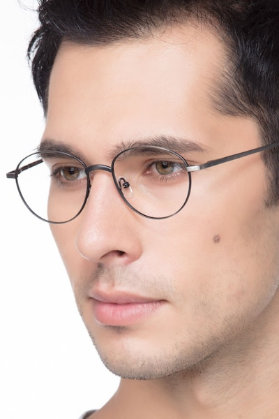 Nara Gunmetal Metal Eyeglass Frames for Men from EyeBuyDirect