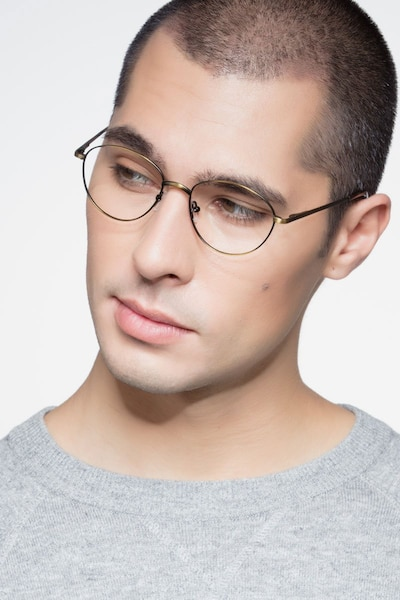 Nara Bronze Metal Eyeglass Frames for Men from EyeBuyDirect, Front View