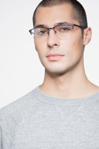 Time Navy Metal Eyeglass Frames for Men from EyeBuyDirect, Front View