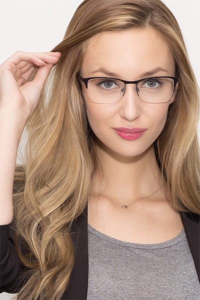 Time Navy Metal Eyeglass Frames for Women from EyeBuyDirect, Front View