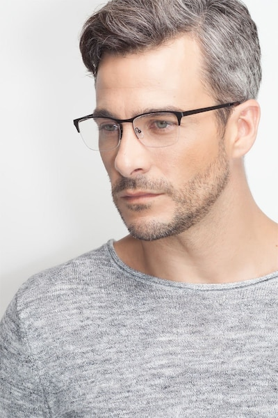 Time Black Metal Eyeglass Frames for Men from EyeBuyDirect, Front View