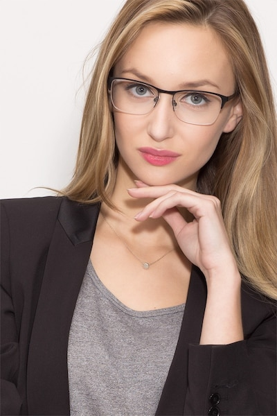 Time Black Metal Eyeglass Frames for Women from EyeBuyDirect, Front View
