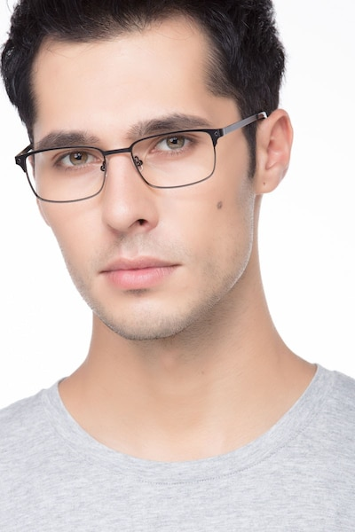 Normandy Black Metal Eyeglass Frames for Men from EyeBuyDirect, Front View