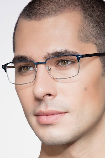 Normandy Navy Metal Eyeglass Frames for Men from EyeBuyDirect