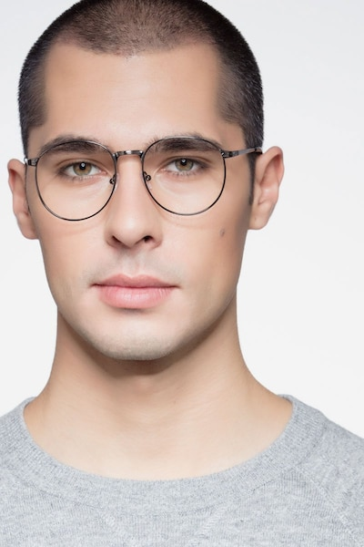 Lotus Gunmetal Metal Eyeglass Frames for Men from EyeBuyDirect, Front View
