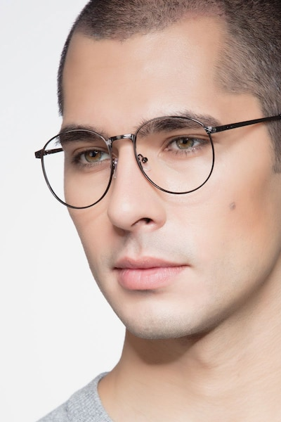 Lotus Gunmetal Metal Eyeglass Frames for Men from EyeBuyDirect