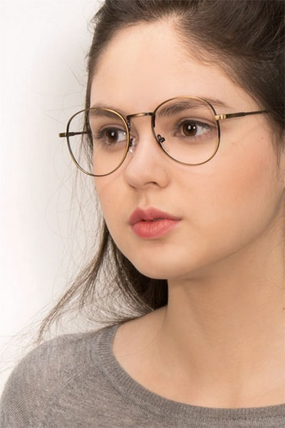 Shanghai Bronze Metal Eyeglass Frames for Women from EyeBuyDirect, Front View