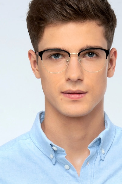 The Moon Black Golden Metal Eyeglass Frames for Men from EyeBuyDirect, Front View