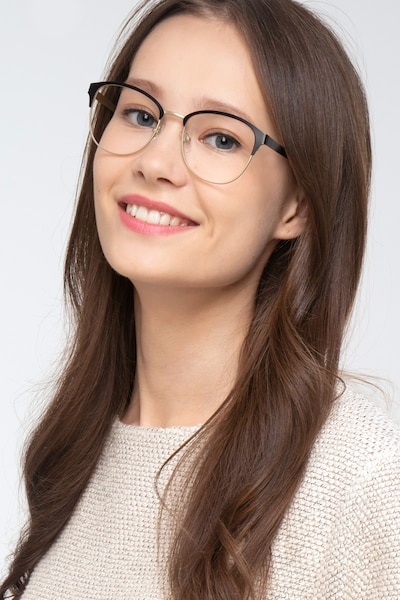The Moon Black Golden Metal Eyeglass Frames for Women from EyeBuyDirect