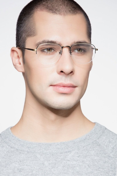Ritual Bronze Metal Eyeglass Frames for Men from EyeBuyDirect, Front View