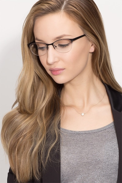 Melody Matte Black Metal Eyeglass Frames for Women from EyeBuyDirect, Front View