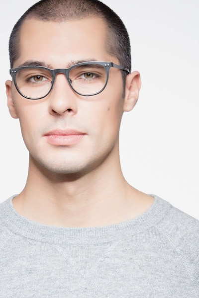 Lyrics Black Metal Eyeglass Frames for Men from EyeBuyDirect, Front View