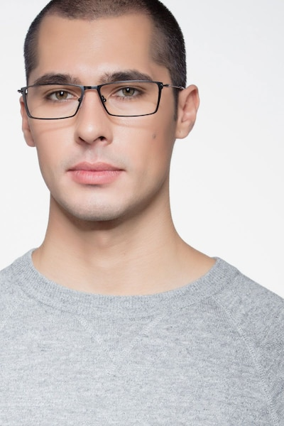 Nouvel Black Metal Eyeglass Frames for Men from EyeBuyDirect, Front View