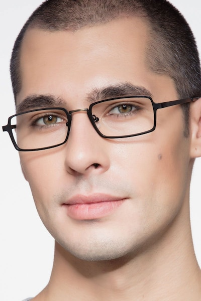 Venturi Black Metal Eyeglass Frames for Men from EyeBuyDirect
