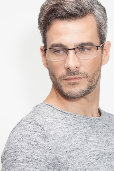 Vega Gunmetal Metal Eyeglass Frames for Men from EyeBuyDirect, Front View