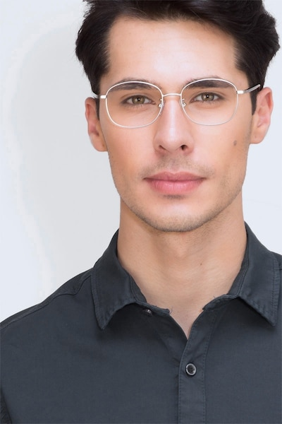 Behold Silver Metal Eyeglass Frames for Men from EyeBuyDirect, Front View