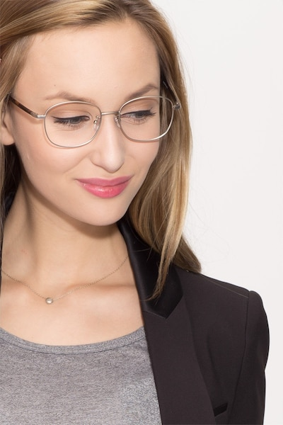Behold Silver Metal Eyeglass Frames for Women from EyeBuyDirect, Front View