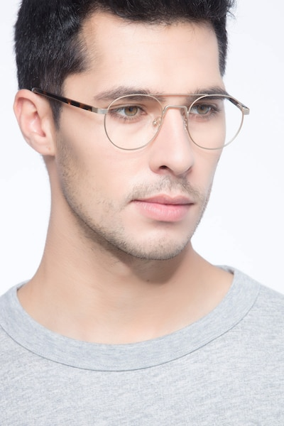 Lock Light Golden Metal Eyeglass Frames for Men from EyeBuyDirect, Front View