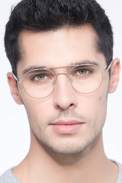 Lock Light Golden Metal Eyeglass Frames for Men from EyeBuyDirect