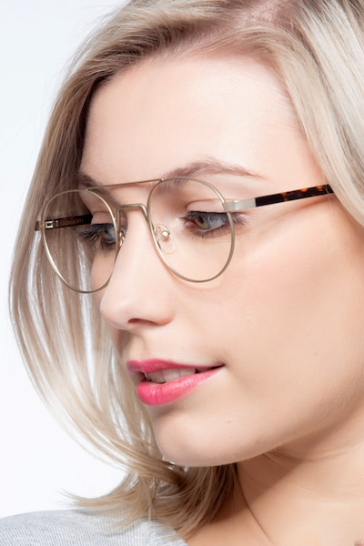 Lock Light Golden Metal Eyeglass Frames for Women from EyeBuyDirect