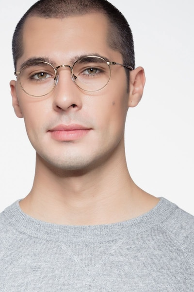 Circus Bronze Metal Eyeglass Frames for Men from EyeBuyDirect, Front View