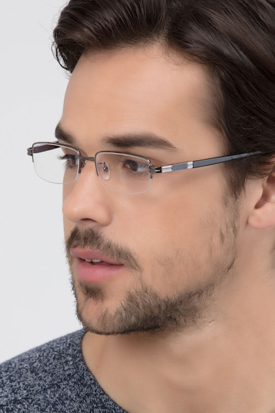 Above Gunmetal Metal Eyeglass Frames for Men from EyeBuyDirect