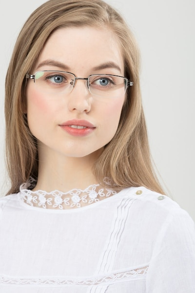 Above Gunmetal Metal Eyeglass Frames for Women from EyeBuyDirect, Front View