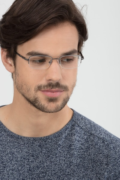 Hiro Gunmetal Metal Eyeglass Frames for Men from EyeBuyDirect, Front View