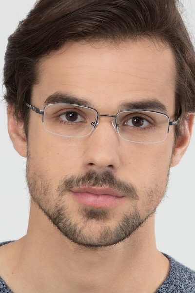 Hiro Gunmetal Metal Eyeglass Frames for Men from EyeBuyDirect