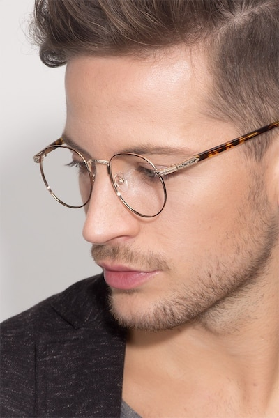 Basquiat Golden/Tortoise Metal Eyeglass Frames for Men from EyeBuyDirect