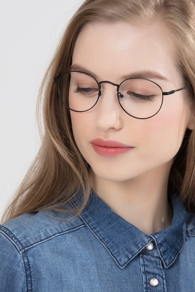 Cupertino Black Metal Eyeglass Frames for Women from EyeBuyDirect