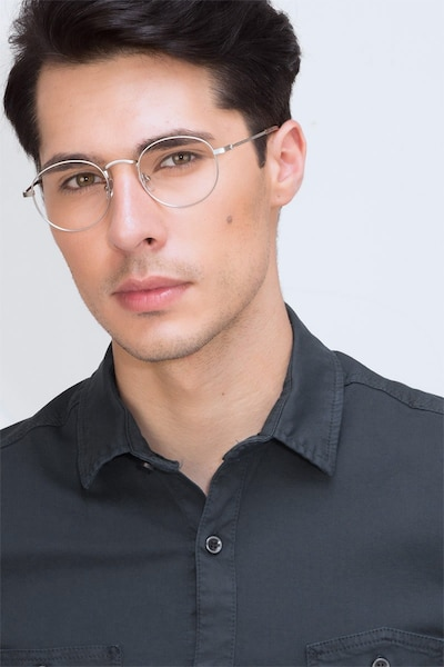 Cupertino  Silver  Metal Eyeglass Frames for Men from EyeBuyDirect, Front View