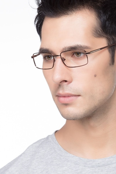 Parcel Brown Metal Eyeglass Frames for Men from EyeBuyDirect, Front View