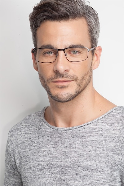 Capacious Matte Gunmetal Metal Eyeglass Frames for Men from EyeBuyDirect
