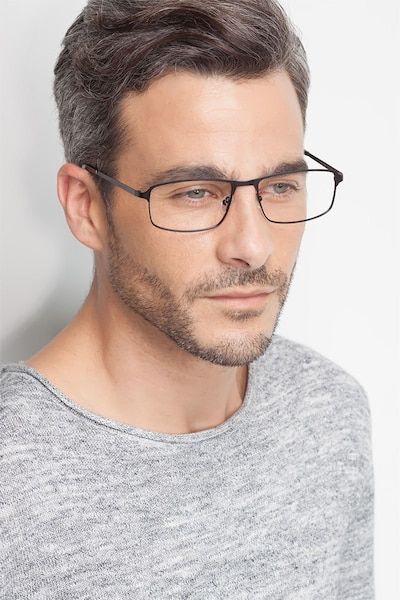 Capacious Black Metal Eyeglass Frames for Men from EyeBuyDirect, Front View