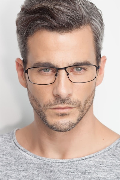 Capacious Black Metal Eyeglass Frames for Men from EyeBuyDirect