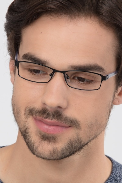 Olsen Black Metal Eyeglass Frames for Men from EyeBuyDirect