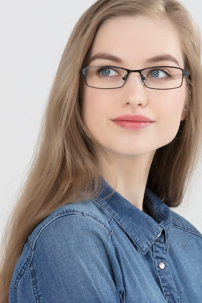 Olsen Black Metal Eyeglass Frames for Women from EyeBuyDirect