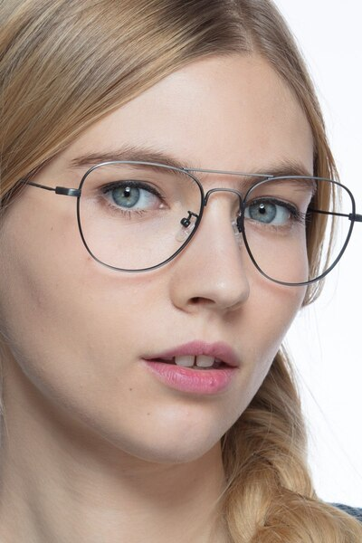 Harrier Dark Gunmetal Metal Eyeglass Frames for Women from EyeBuyDirect