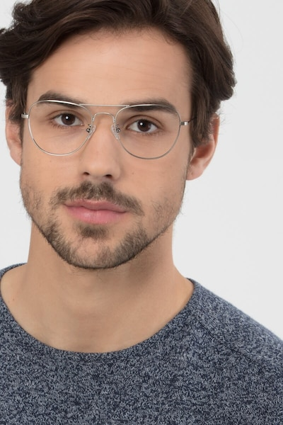 Harrier Gunmetal Metal Eyeglass Frames for Men from EyeBuyDirect, Front View