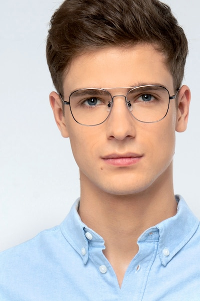 Courser Gunmetal Metal Eyeglass Frames for Men from EyeBuyDirect, Front View
