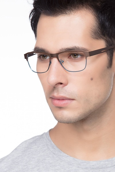 Python Matte Brown Metal Eyeglass Frames for Men from EyeBuyDirect, Front View