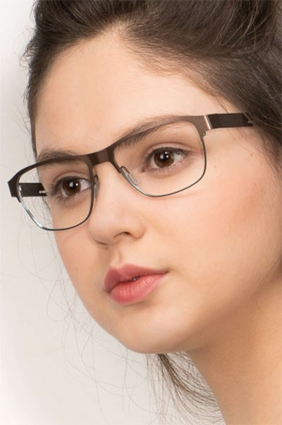 Python Matte Brown Metal Eyeglass Frames for Women from EyeBuyDirect