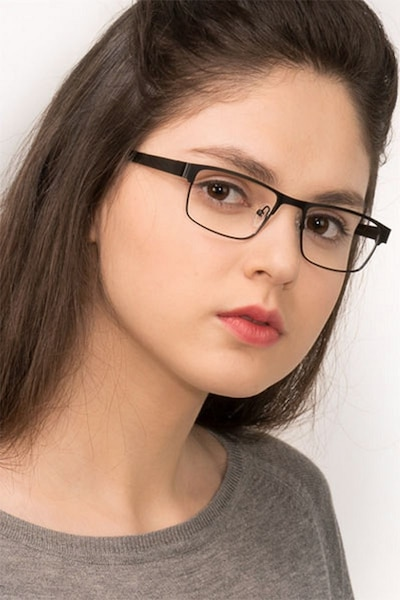 Java Black Metal Eyeglass Frames for Women from EyeBuyDirect, Front View